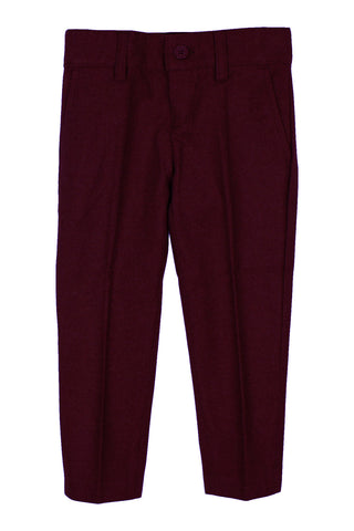Armando Boys' Wool Look Skinny Fit Burgundy Pant