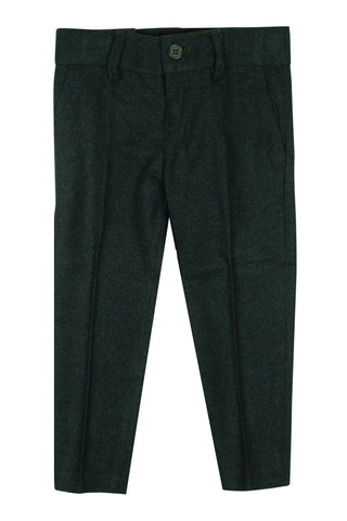 Armando Boys' Wool Look Slim Fit Dark Green Pant