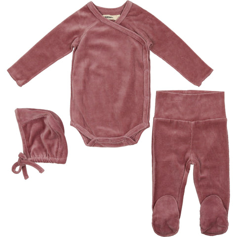 Urbani Mauve Velour Set With Bonnet