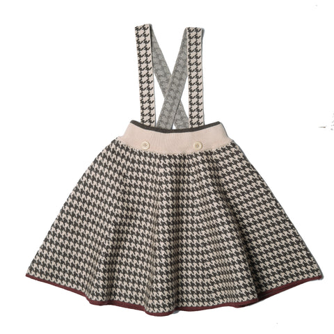 Belati Brown Knitted Houndstooth Skirt
