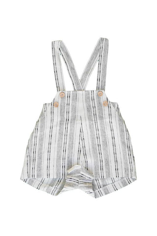 Belati Black and White DISTRESSED BABY OVERALLS