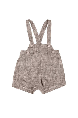 Belati Brown Grain Linen Overalls