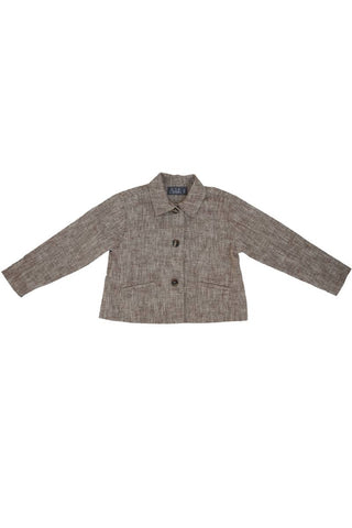 Belati Brown GRAIN LINEN SHIRT COLLARED JACKET