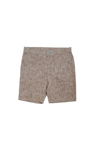 Belati Brown Grain Linen Bermudas