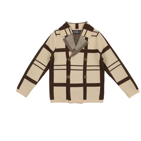 Belati Brown Plaid Knitted Blazer