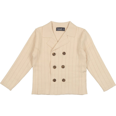 Belati Ivory Striped Pointelle Blazer
