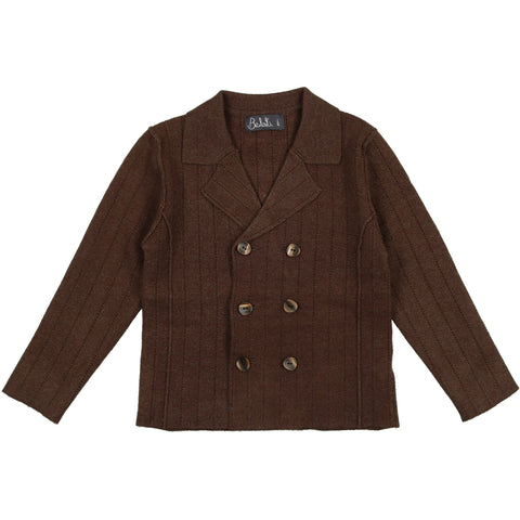 Belati Marled Brown Striped Pointelle Blazer