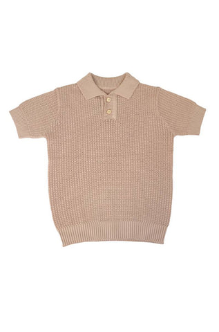 Belati Nude COLLARED KNIT WITH HOLES TEXTURE