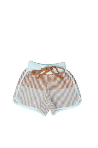 Belati Nude Striped Knitted Shorts
