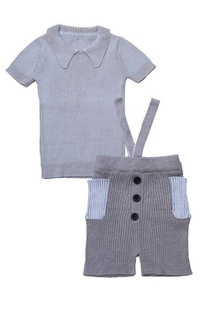 Belati Summer Brown BIG COLLARED RIB KNIT SET WITH IVORY LINES