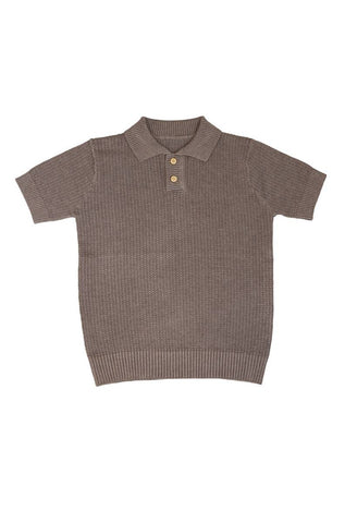 Belati Summer Brown COLLARED KNIT WITH HOLES TEXTURE