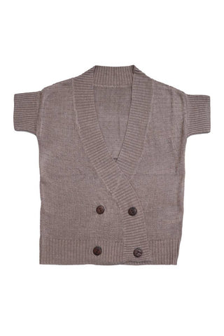Belati Summer Brown DOUBLE BREASTED WAFFLE VEST