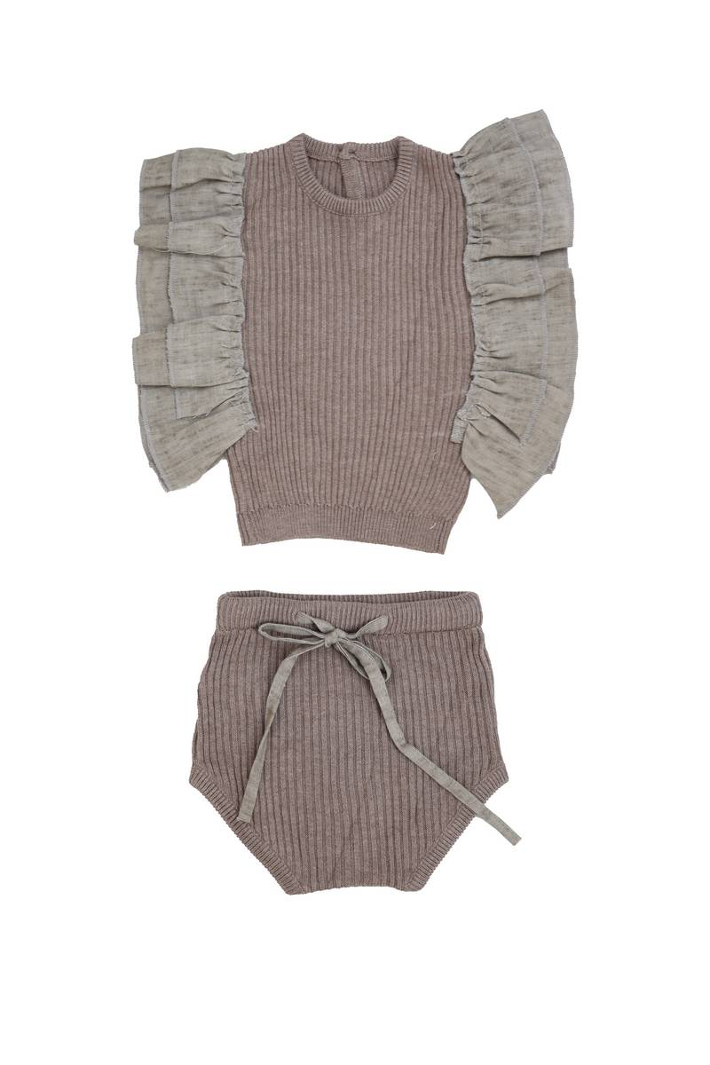 Belati Summer Brown Frilled Knit Set