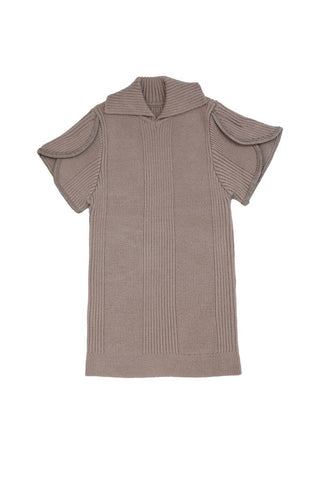Belati Summer Brown RIBBED KNIT WITH COLLAR AND PIPING