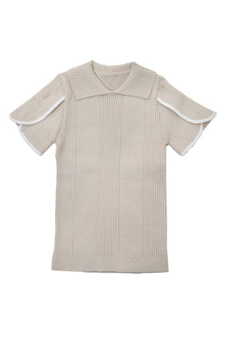 Belati Vanilla RIBBED KNIT WITH COLLAR AND PIPING