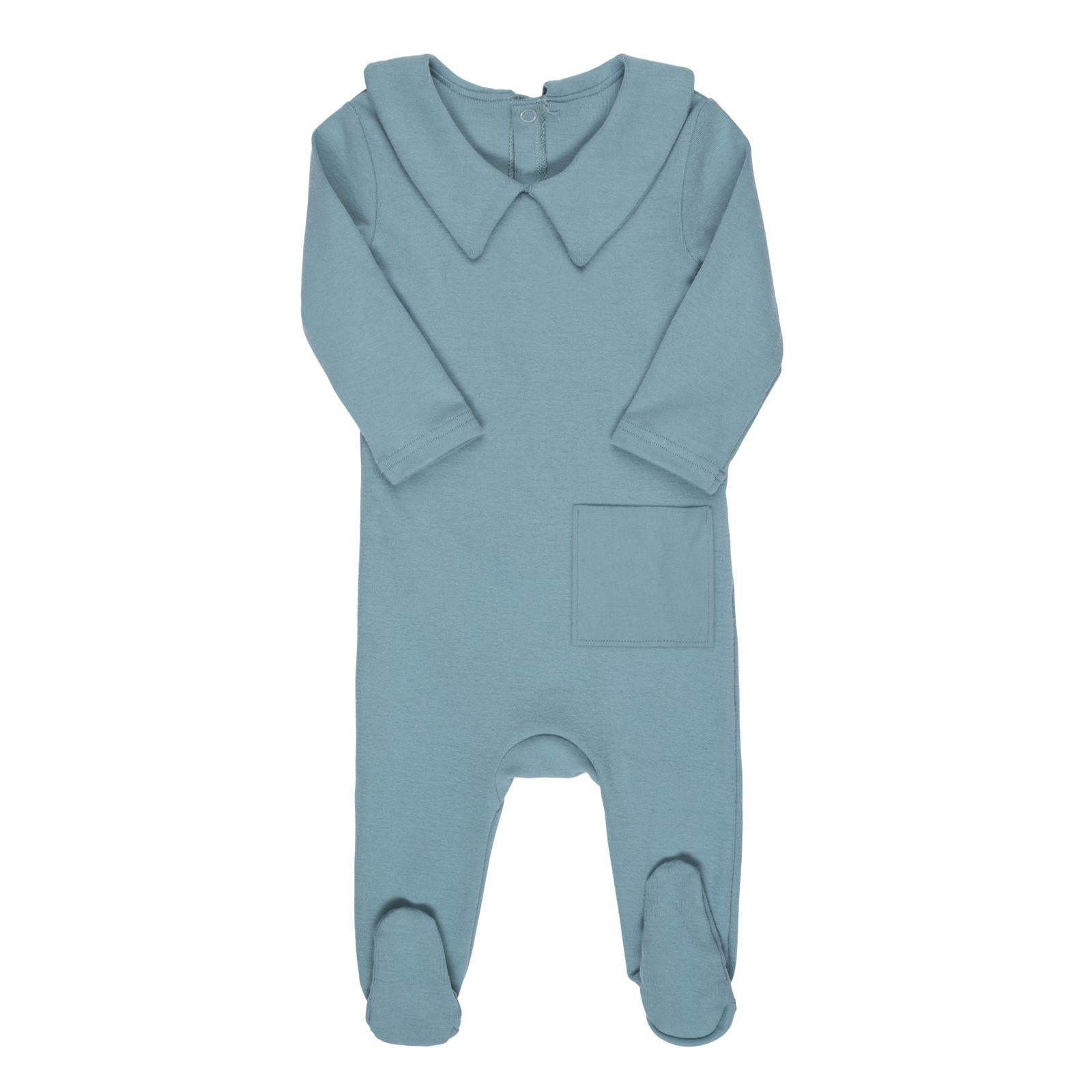 Bon Rever Pale Blue  Collared Pocket Footie