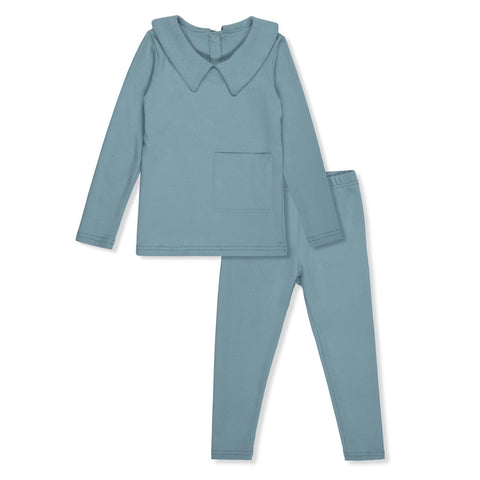Bon Rever Pale Blue Collared Pocket Pjs