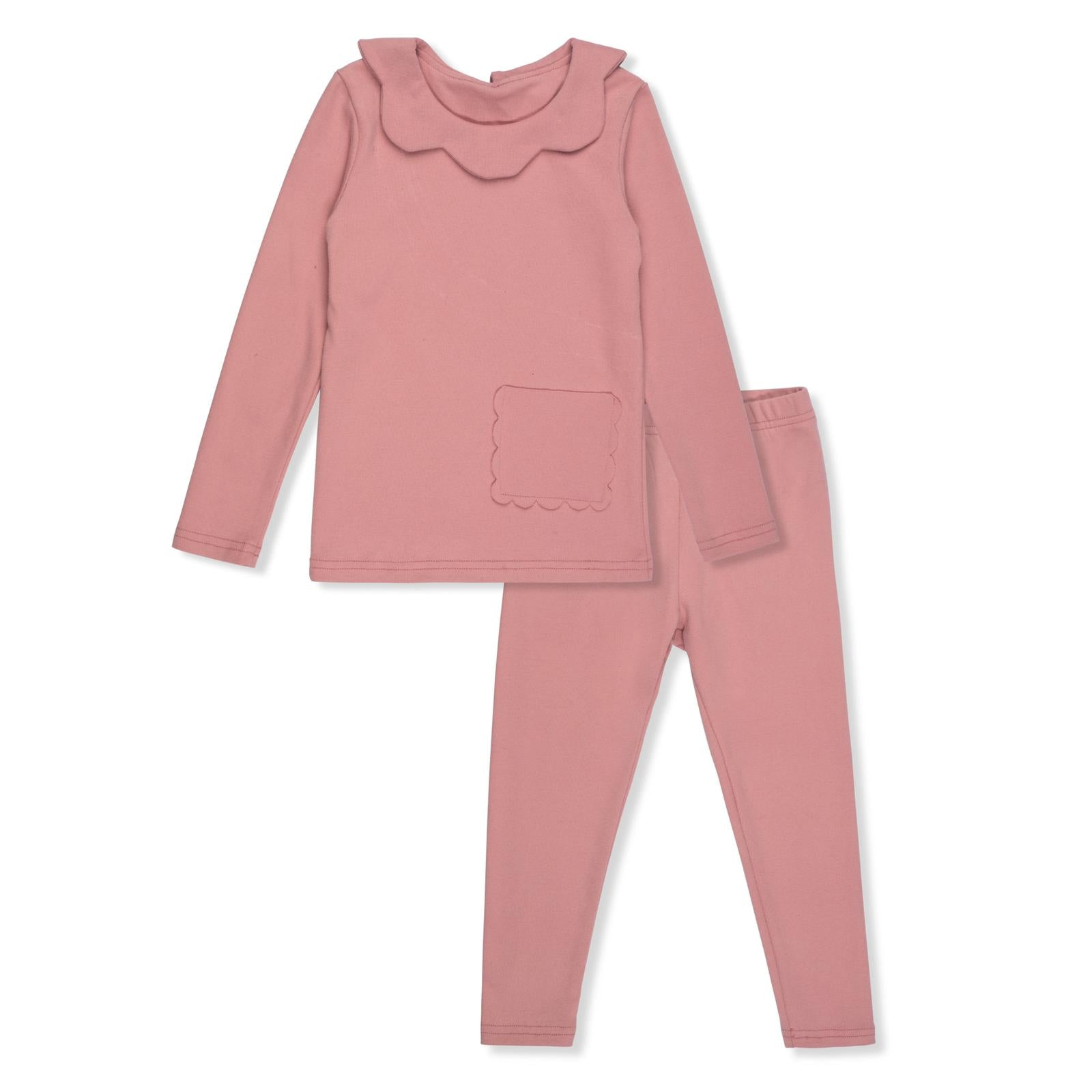 Bon Rever Pale Pink Scalloped Pjs