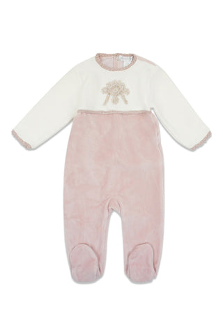 Chant De Joie Antique Pink Velour Footie