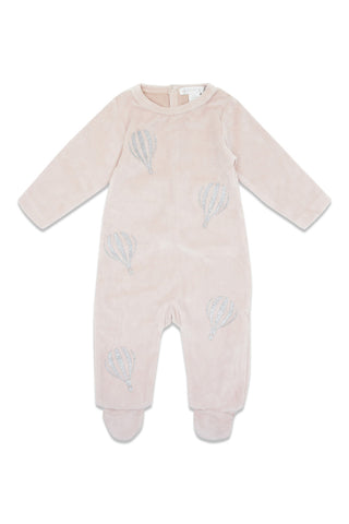 Chant De Joie Antique Pink Velour Hot Air Balloon Footie