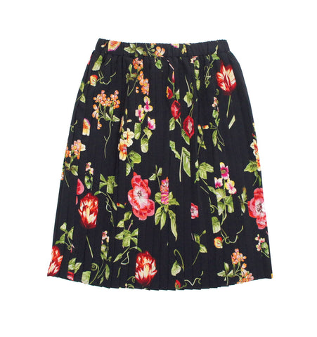 Christina Rohde Black Floral Pleated Skirt