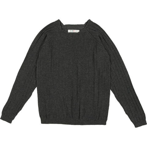 Coco Blanc Grey Ribbed Crew Sweater