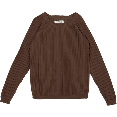 Coco Blanc Toffee Ribbed Crew Sweater