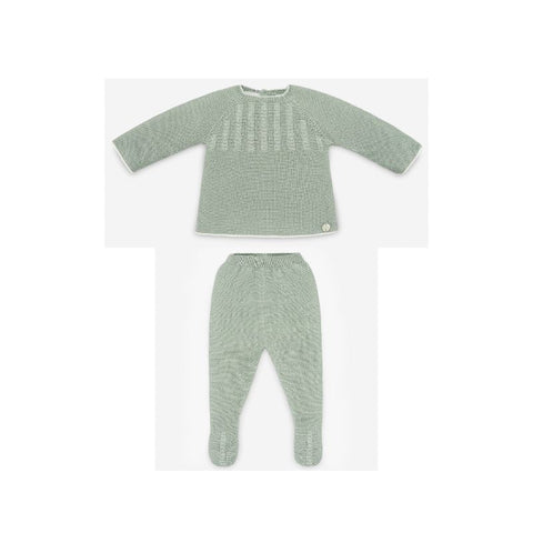 Paz Rodriguez Boys' Mint Green Knit Leggings Set