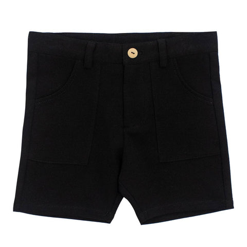 Crew Black Cotton Knit Shorts