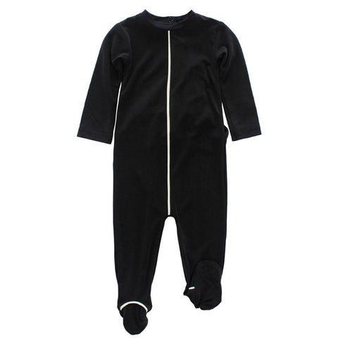 Crew Black Piped Footie