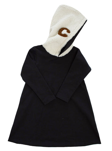 Crew Black Sherpa Hoodie Dress