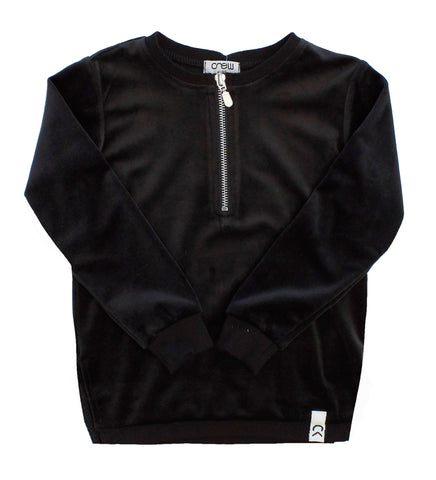 Crew Black Velour Zip Top