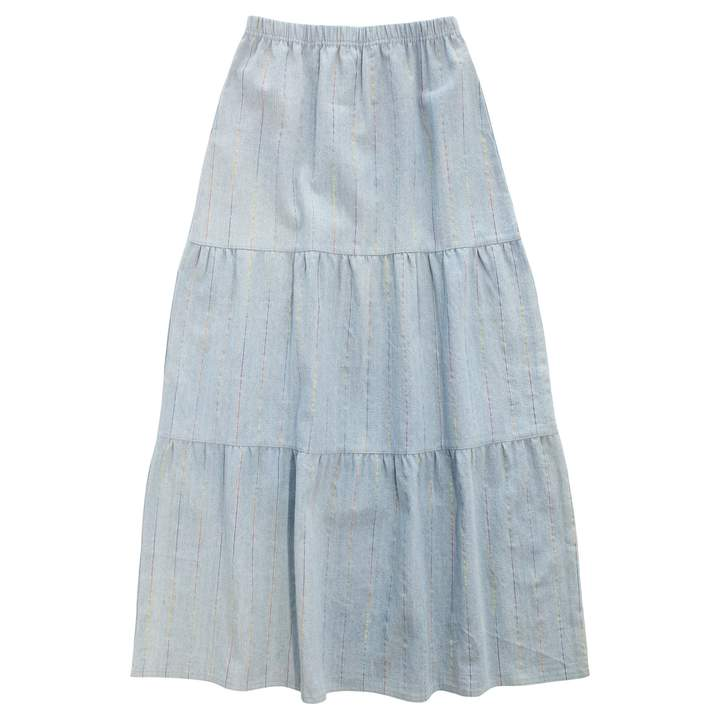 Crew Denim Tiered Maxi Skirt
