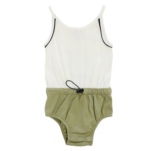 Crew Khaki Piped Romper