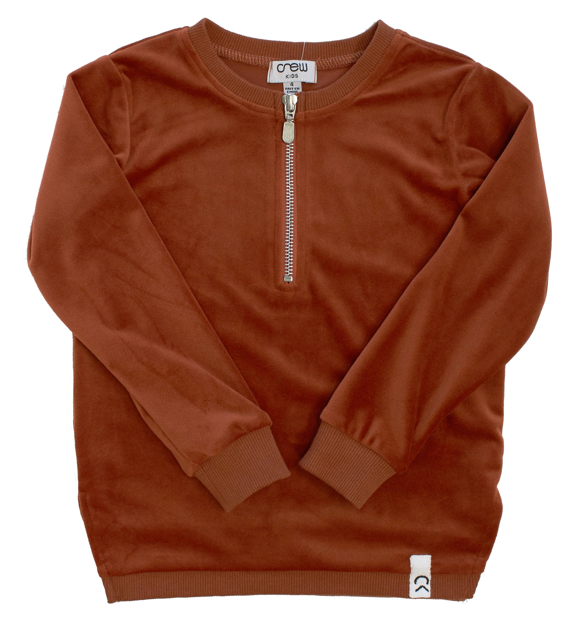 Crew Rust Velour Zip Top
