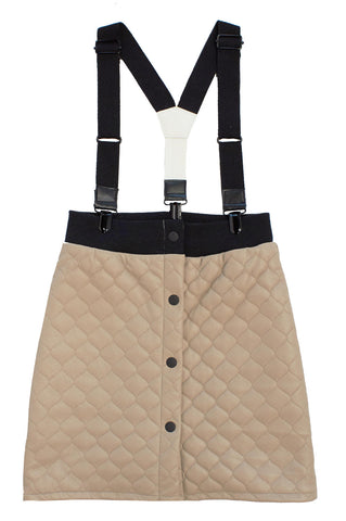 Crew Taupe Quilted Suspender Skirt