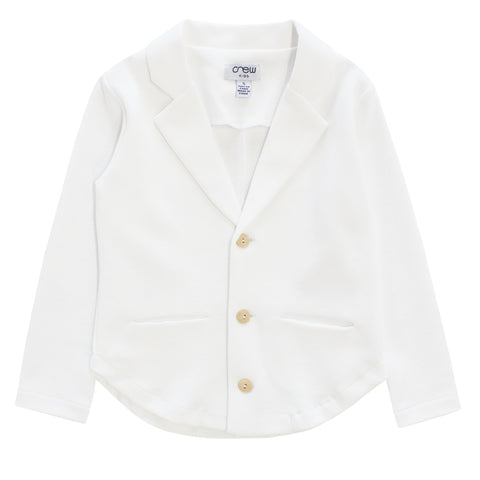 Crew White Cotton Knit Blazer