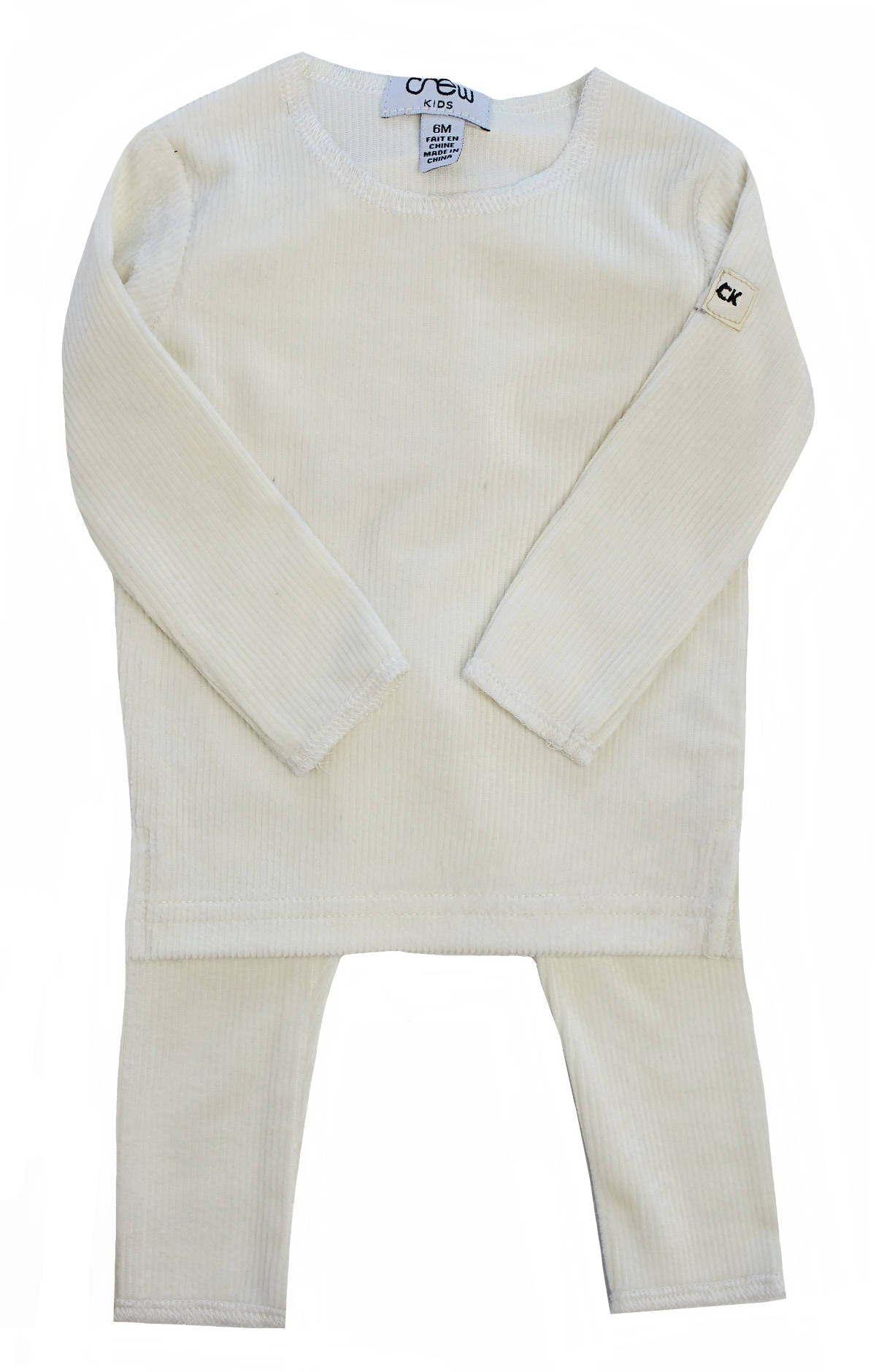 Crew White Velour Ribbed Set