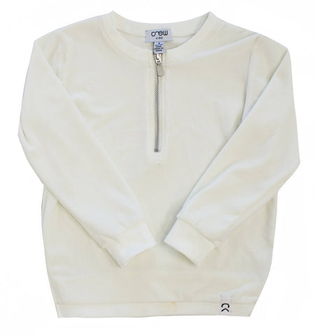 Crew White Velour Zip Top