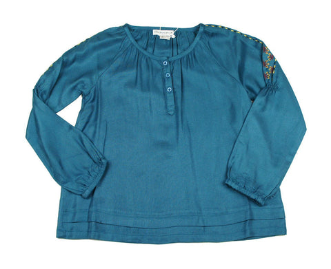 Bleu Comme Gris Velina Acqua Girls Blouse - Young Timers Boutique