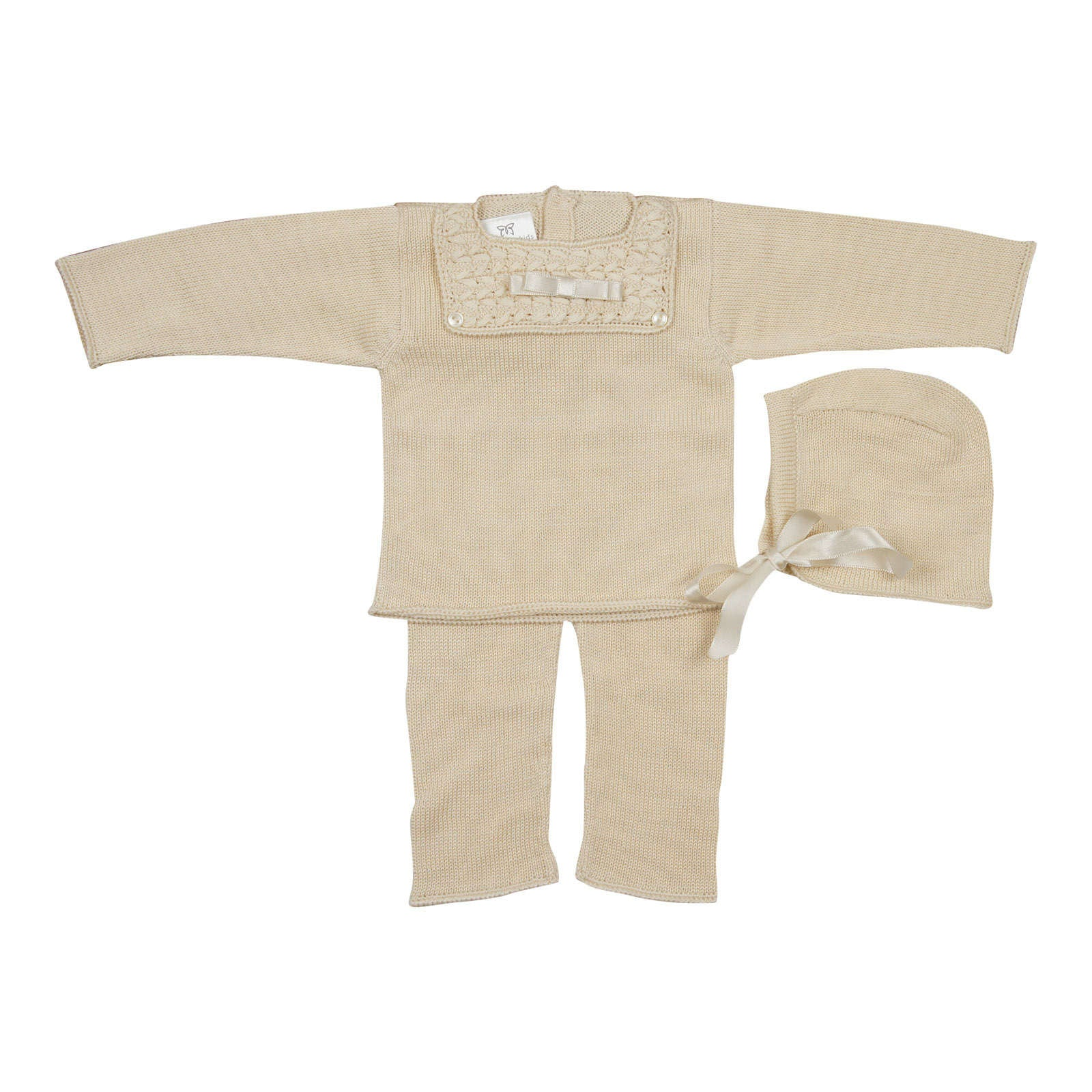 Antonella Beige Bib Knit Set - Young Timers Boutique