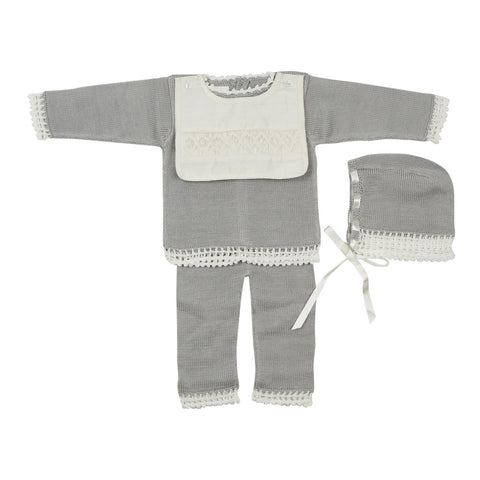 Antonella Baby Crochet Trim Knit Set - Young Timers Boutique