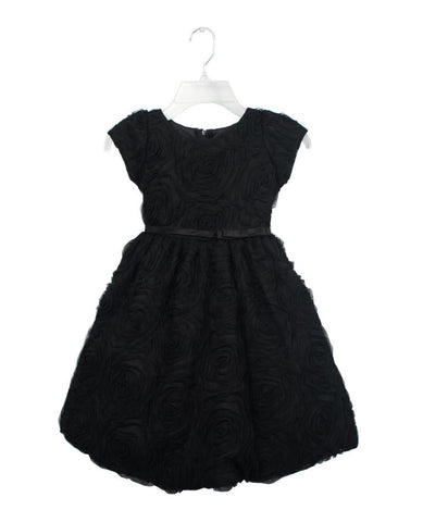 Black Rosette Tea Length Party Dress by Sweet Kids - Young Timers Boutique
