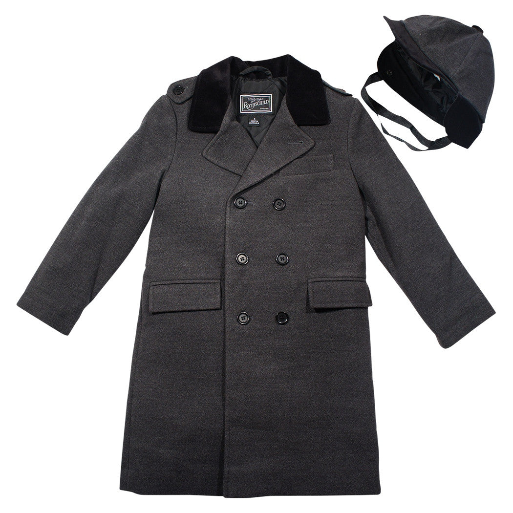Rothschild Dark Charcoal John John Boy's Coat and Hat - Young Timers Boutique