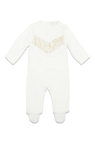 Chant De Joie Ivory Velour With Gold V Footie