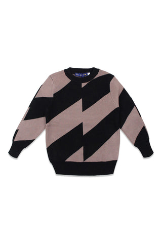Euro Boys Black Asymmetric Lines Sweater