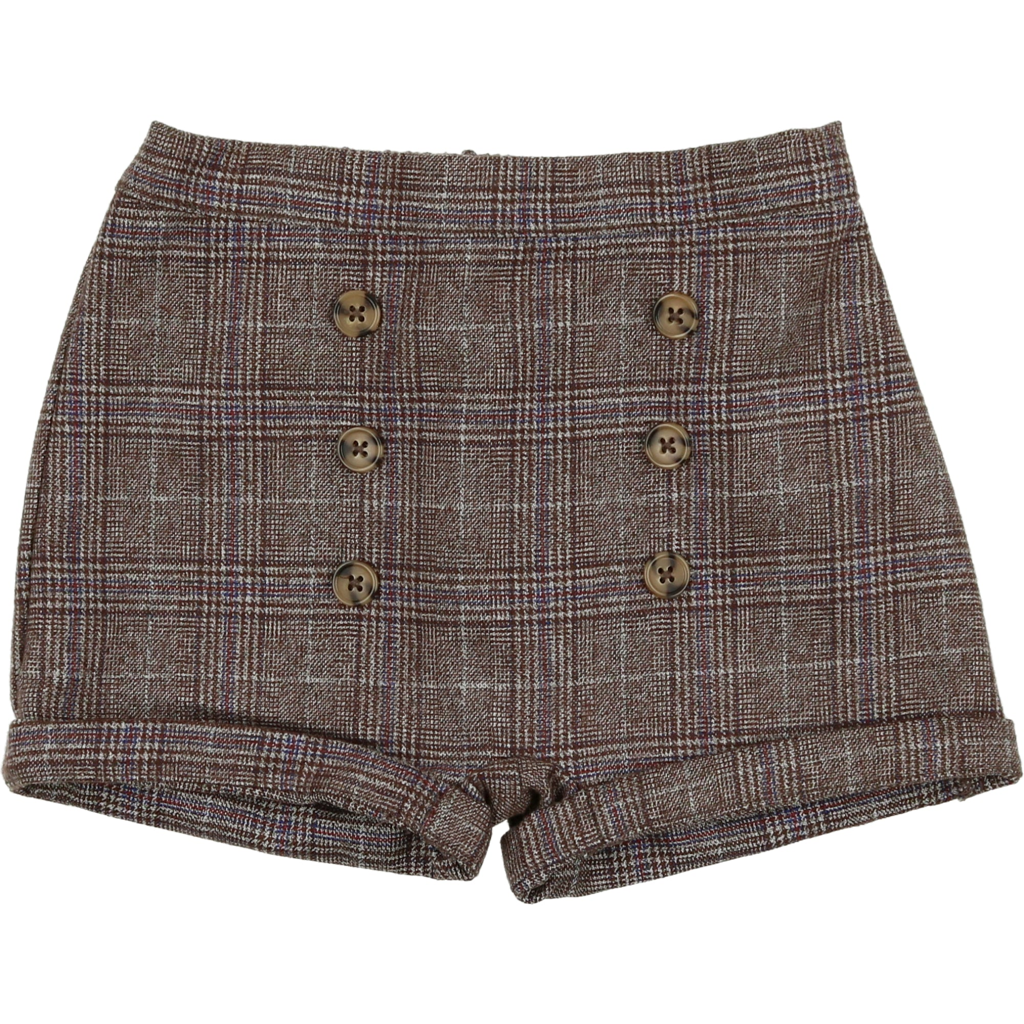 Delicat Brown Plaid Wool Shorts
