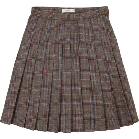 Delicat Brown Plaid Wool Skirt