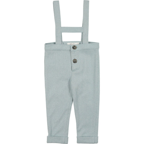 Delicat Pale Blue Herringbone Suspender Pants