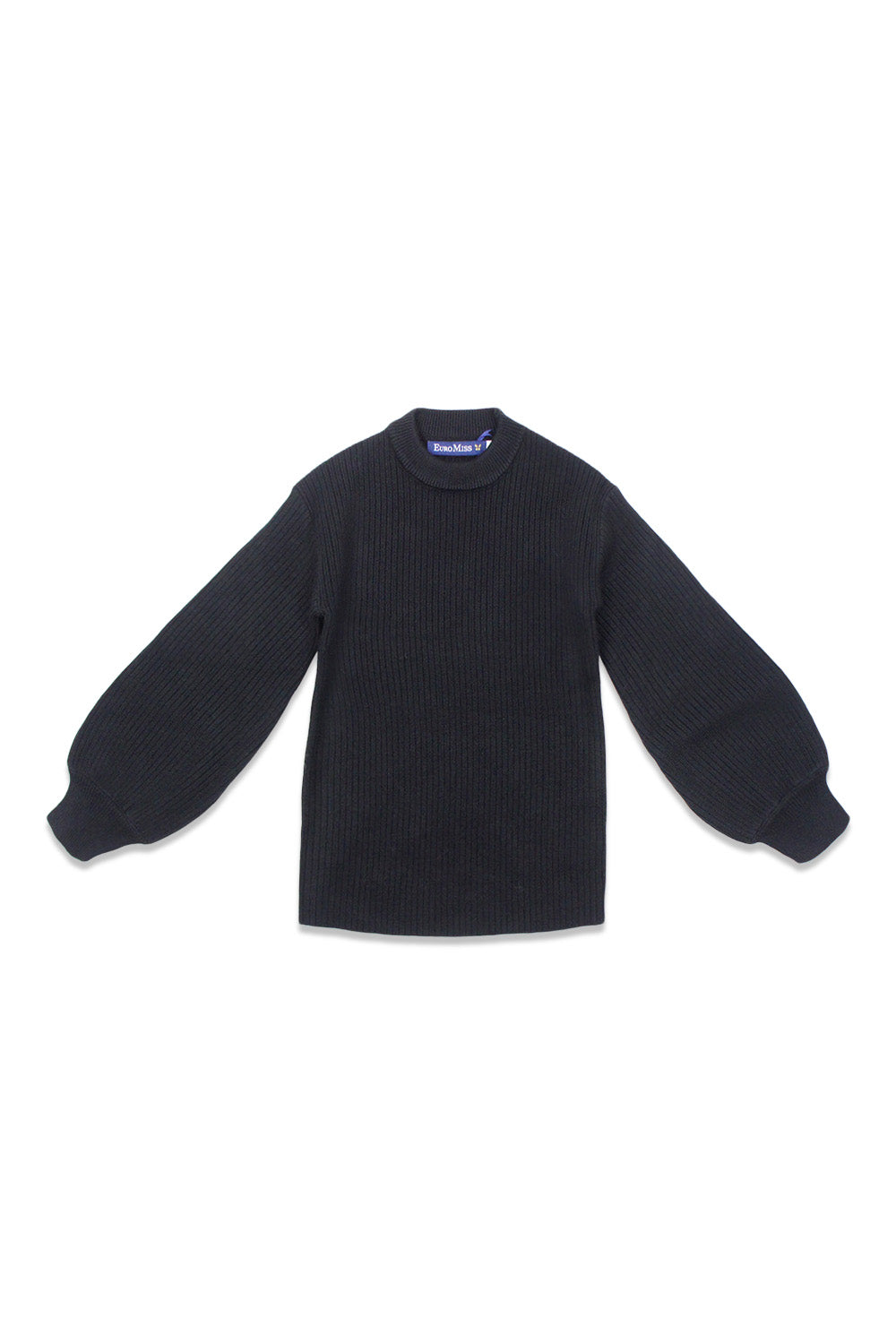 Euro Miss Black Puff Sleeve Sweater